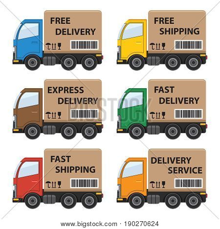 Set of delivery cars with various writings. Flat vector illustration