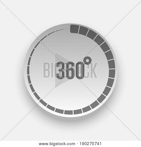 Realistic 360 Degrees Icon with Arrow and Shadow. Vector Illustration