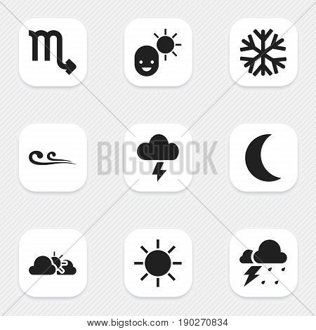 Set Of 9 Editable Air Icons. Includes Symbols Such As Sunset, Zodiac Sign, Breeze And More. Can Be Used For Web, Mobile, UI And Infographic Design.