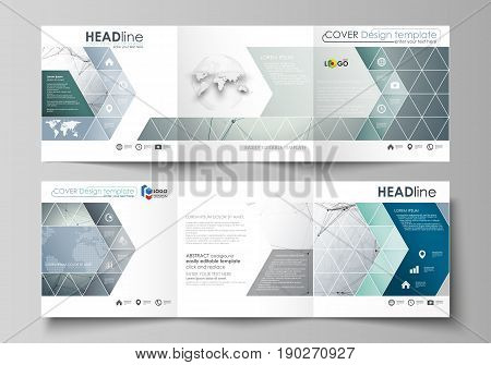 Set of business templates for tri fold square design brochures. Leaflet cover, abstract flat layout, easy editable vector. Genetic and chemical compounds. Atom, DNA and neurons. Medicine, chemistry, science or technology concept. Geometric background.