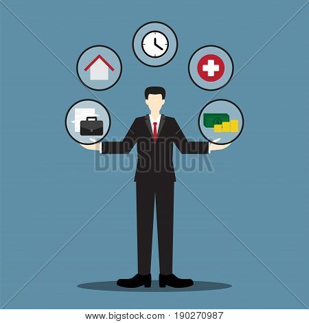 businessman balance life concept, vector illustration, work life balance