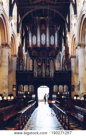OXFORD, UK - MAY 22, 2017: Interior of Christ Church Cathedral, cathedral of the diocese of Oxford and also college chapel for Christ Church. This dual role is unique in the Church of England.