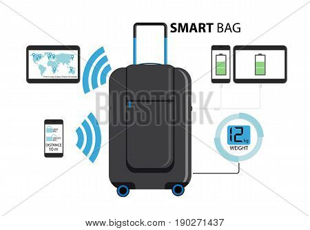 Smart suitcase with built-in GPS, weights, wi-fi and battery for recharging gadgets. Baggage of the future. Vector illustration