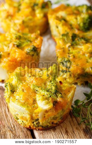 Hearty Snack: Broccoli Bites With Cheese Macro. Vertical