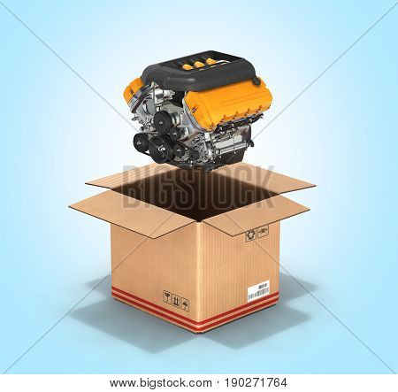Engine With A Cardboard Box Concept Of Sale And Delivery Of Auto Parts Without Shadow On Blue Gradie