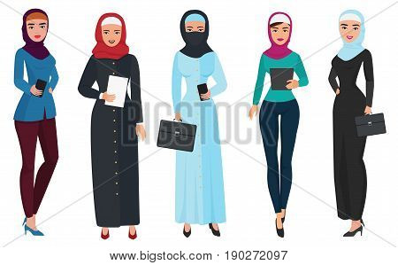 Set of business arab woman character with hijab. Muslim female people vector illustration
