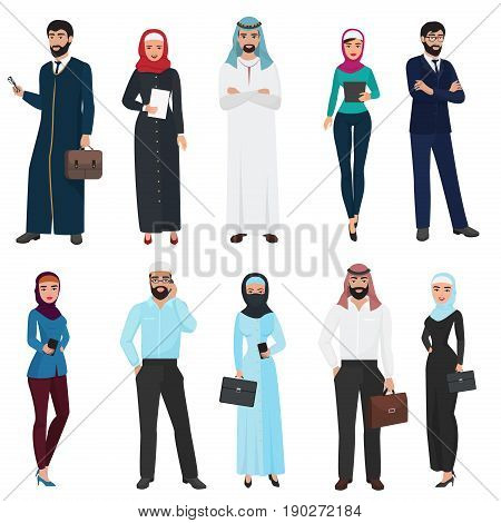 Muslim Arabic Business people. Arab office male and female vector illustration set
