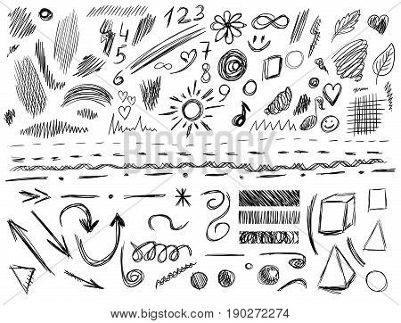 Big set of 105 hand-sketched design elements, pen drawings, VECTOR illustration isolated on white. Black scribble lines.