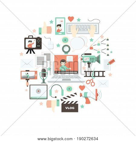 Vector icons for social media and modern communications arranged inside of circle. Concept for digital online blog, video marketing, blogger's work. Flat design. Isolated on white.