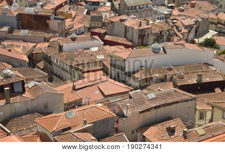 Roofscape from Clerigos Tower in Porto Portugal