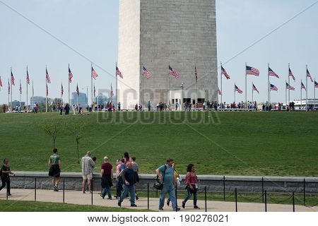 WASHINGTON, DISTRICT OF COLUMBIA - APRIL 14: A View of the Washington Monument on April 14, 2017