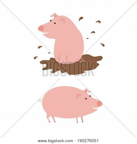 Cute pigs. Cheerful pig. Funny pigs vector