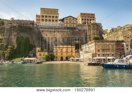 SORRENTO, ITALY - MAY 21, 2017: picturesque landscape in the port of Sorrento, Bay of Naples in Southern Italy