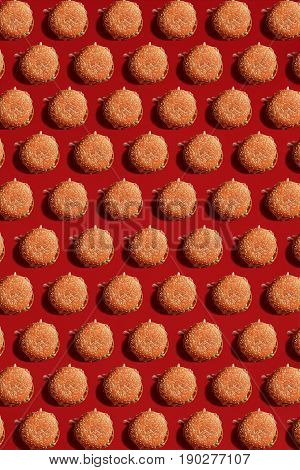 Close Up to Burgers, High Calorie Junk Food, Background. Pattern