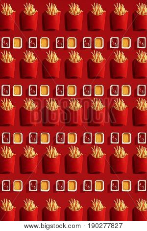 Close Up to French Fries, High Calorie Junk Food, Background. Pattern