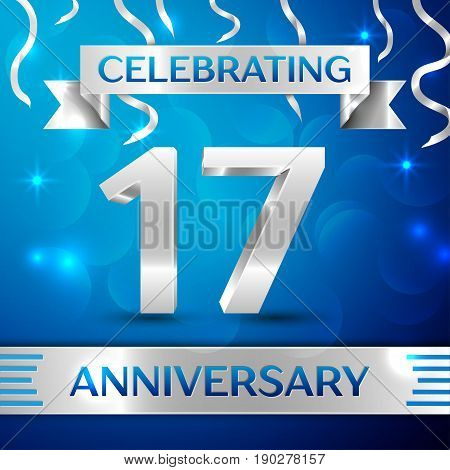 Seventeen Years Anniversary Celebration Design. Confetti and silver ribbon on blue background. Colorful Vector template elements for your birthday party. Anniversary ribbon