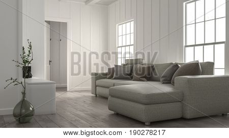 Comfortable cozy living room interior with a large modular sofa in front of two bright windows with wood panelled white walls. 3d rendering