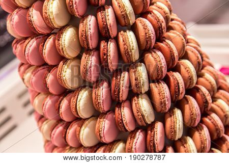 Colorful French Macarons formed as a pyramid