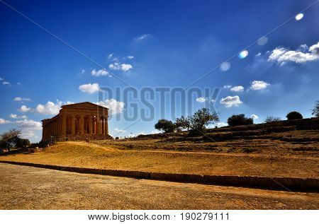 Italian destination, Temple of Concordia, archaeological site in the Valley of the Temples in Agrigento, Sicily