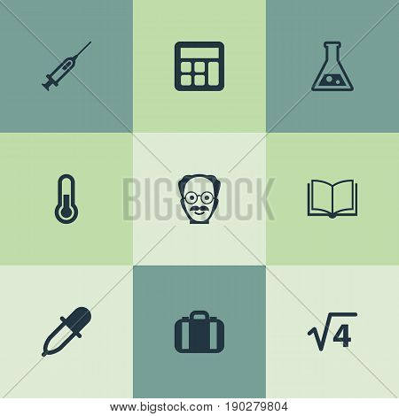 Vector Illustration Set Of Simple Study Icons. Elements Briefcase, Reckoning, Scholar And Other Synonyms Book, Substance And Calculator.