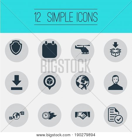 Vector Illustration Set Of Simple Systematization Icons. Elements Calendar, Global Trade, Download And Other Synonyms Almanac, Delivery And Air.