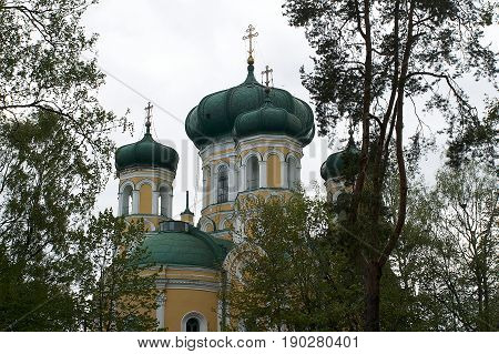 Dome Gatchina Pavlovsk Cathedral among the trees.