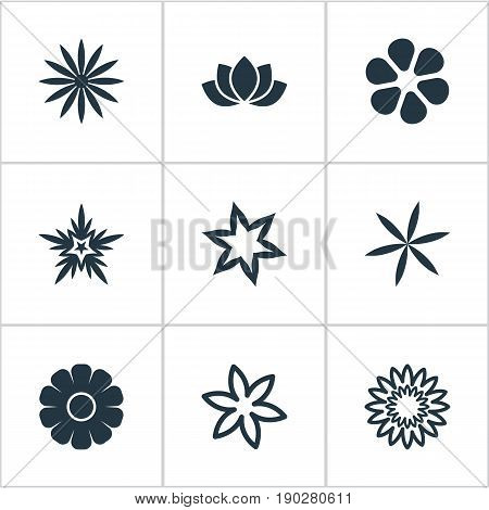 Vector Illustration Set Of Simple Flower Icons. Elements Aloha, Narcissus, Gardemiya And Other Synonyms Blossoming, Marguerite And Florist.