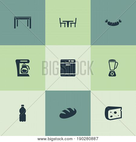 Vector Illustration Set Of Simple Gastronomy Icons. Elements Beverage, Wheat, Sausage And Other Synonyms Cheese, Mixer And Table.