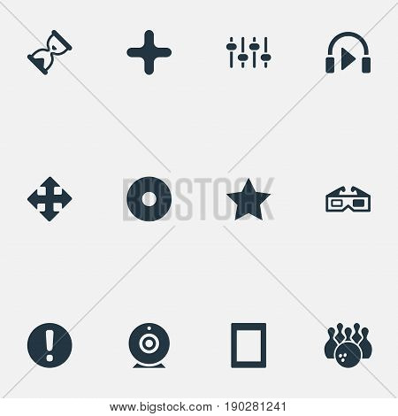 Vector Illustration Set Of Simple Game Icons. Elements Asterisk, Dvd, Hourglass And Other Synonyms Equalizer, Web And Warning.