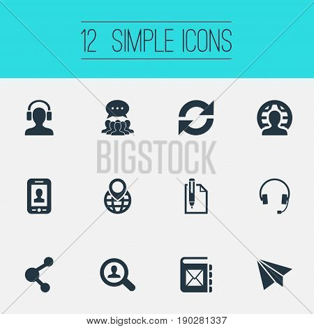 Vector Illustration Set Of Simple Connect Icons. Elements Aircraft, Collective Opinion, Selfie And Other Synonyms Refresh, Network And Earmuff.