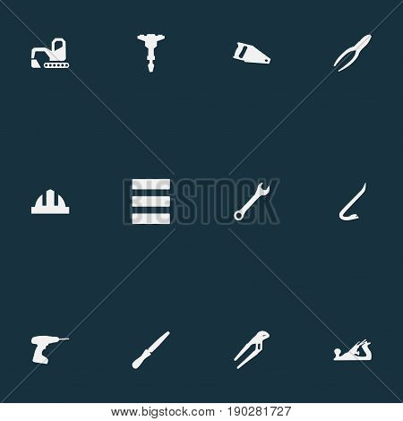 Vector Illustration Set Of Simple Industrial Icons. Elements Drill, Saw, Fretsaw And Other Synonyms Drill, Digger And Helmet.