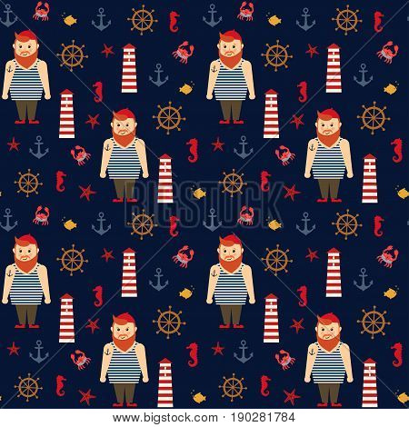 Navy vector seamless sea pattern: bearded sailor, lighthouse, fish, anchor, seahorse. Cute nautical dark blue background. Marine life Collection. Baby style design for textile, wallpaper, fabric
