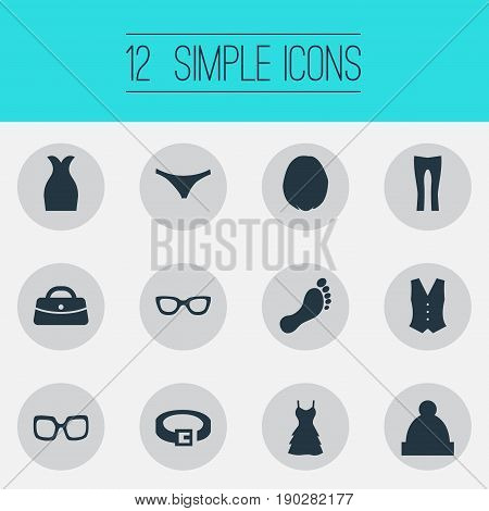 Vector Illustration Set Of Simple Garments Icons. Elements Attire, Eyeglasses, Purse And Other Synonyms Sarafan, Barefoot And Panties.