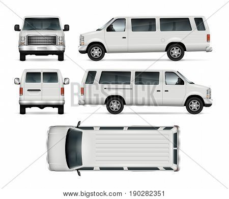 Passenger van vector template for car branding and advertising. Isolated mini bus on white background. All layers and groups well organized for easy editing and recolor. View from side front back top.