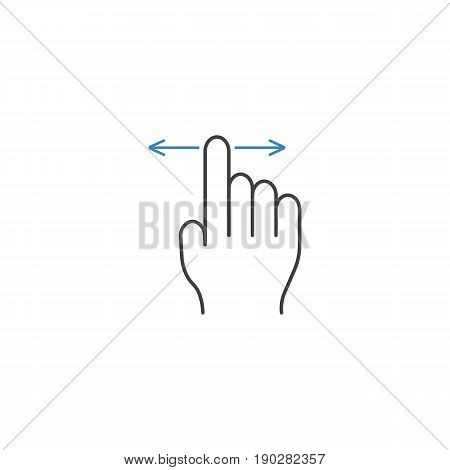 Finger Drag line icon, touch and hand gestures, vector graphics, a color linear pattern on a white background, eps 10.