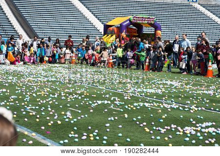 VILLANOVA, PA - APRIL 2: Radnor Township hosts an Easter Egg Hunt at Villanova University Football Stadium on April 2, 2017