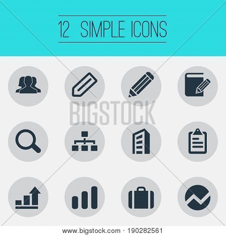 Vector Illustration Set Of Simple Company Icons. Elements Relationship, Tag, Diagram And Other Synonyms Scrutiny, Graph And Tag.