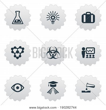 Vector Illustration Set Of Simple Knowledge Icons. Elements Biological Weapon, Briefcase, Knowledge And Other Synonyms Administration, Oversight And Molecule.