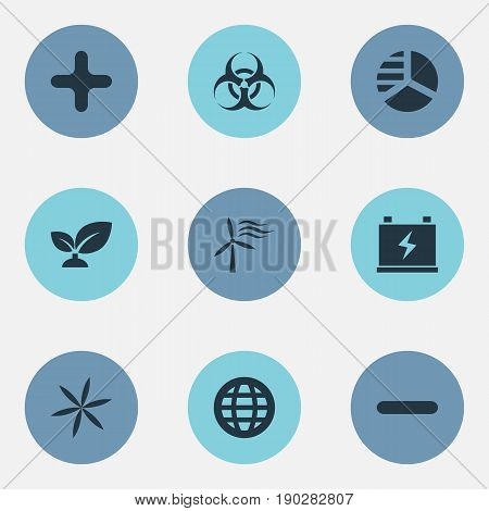 Vector Illustration Set Of Simple Green Icons. Elements Biology Peril, Earth, Diagram And Other Synonyms Battery, Planet And Accumulator.