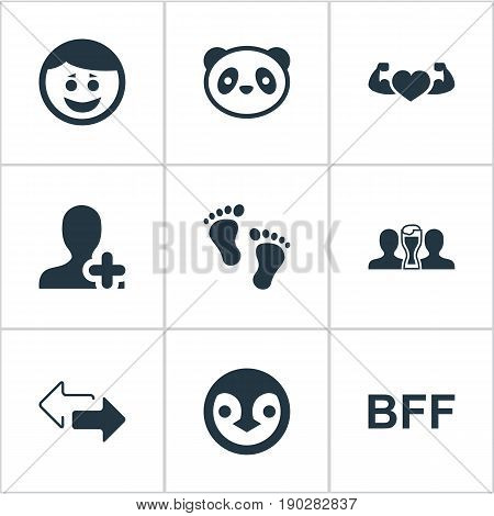 Vector Illustration Set Of Simple Buddies Icons. Elements Arrows, Beer, Bff And Other Synonyms Forever, Penguin And Best.