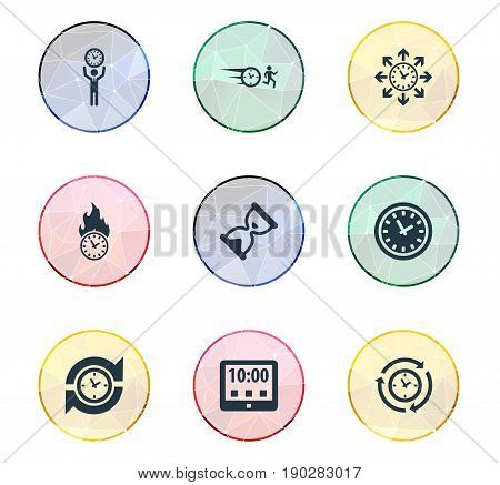 Vector Illustration Set Of Simple Time Icons. Elements Arrows, Chronometer, Repetition And Other Synonyms Chronometer, Rush And Interval.