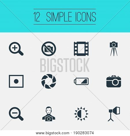 Vector Illustration Set Of Simple Photography Icons. Elements Camcorder, Energy, Lens And Other Synonyms Camcorder, Energy And Tool.