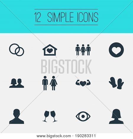 Vector Illustration Set Of Simple  Icons. Elements Amour, Candidate, Mitten Synonyms Double, Glove And People.