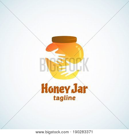 Honey Jar Abstract Vector Sign, Emblem or Logo Template. Cute Pot in Hands Negative Space Concept. Isolated.