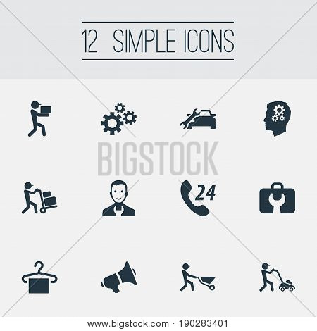 Vector Illustration Set Of Simple Support Icons. Elements Builder, Toolbox, Notice And Other Synonyms Toolbox, Horticulture And Industry.