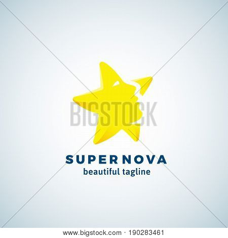 Super Nova Abstract Vector Sign, Emblem or Logo Template. Star Silhouette as a Beautiful Woman Face. Flat Style Symbol with Modern Typography. Isolated.