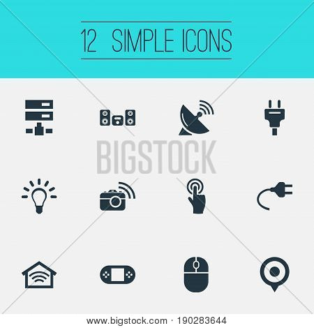 Vector Illustration Set Of Simple Web Icons. Elements Bulb, Multimedia Center, Wireless Connection And Other Synonyms System, Wireless And Gamepad.