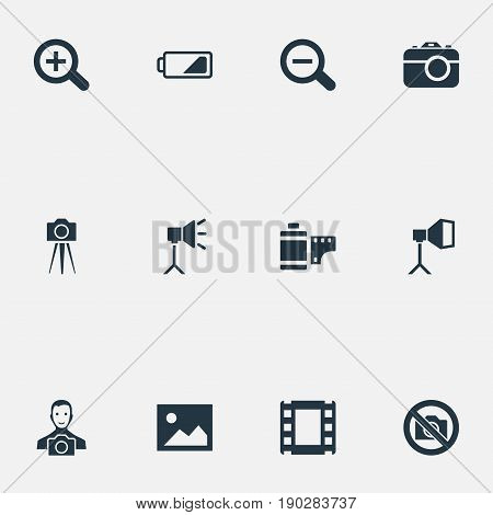 Vector Illustration Set Of Simple Photographic Icons. Elements Camcorder, Rustication, Film Strip And Other Synonyms Man, Tool And Rustication.