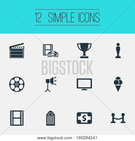 Vector Illustration Set Of Simple Cinema Icons. Elements Trophy, Filmstrip, Oscar And Other Synonyms Reward, Ice And Reel.