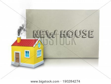 Digital composite image of smoke emitting from model home chimney by new house placard against white background